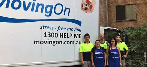 The Moving On Team and Van