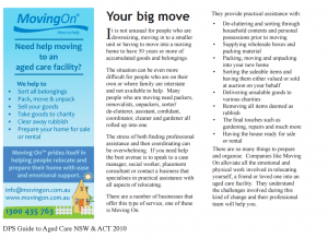Moving on Featured in DPS Guide to aged care 2010