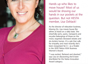 Moving On featured in Hesta Magazine